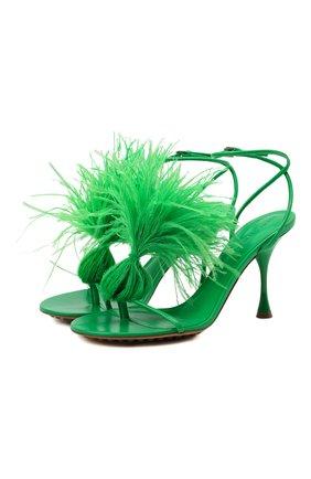 Женские кожаные босоножки dot BOTTEGA VENETA зеленого цвета, арт. 667167/VBSF4 | Фото 1 (Материал внутренний: Натуральная кожа; Каблук тип: Шпилька; Каблук высота: Высокий; Подошва: Плоская)