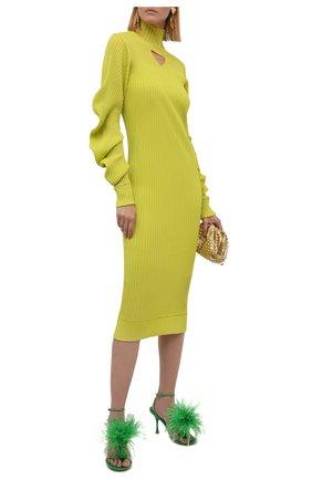 Женские кожаные босоножки dot BOTTEGA VENETA зеленого цвета, арт. 667167/VBSF4 | Фото 2 (Материал внутренний: Натуральная кожа; Каблук тип: Шпилька; Каблук высота: Высокий; Подошва: Плоская)