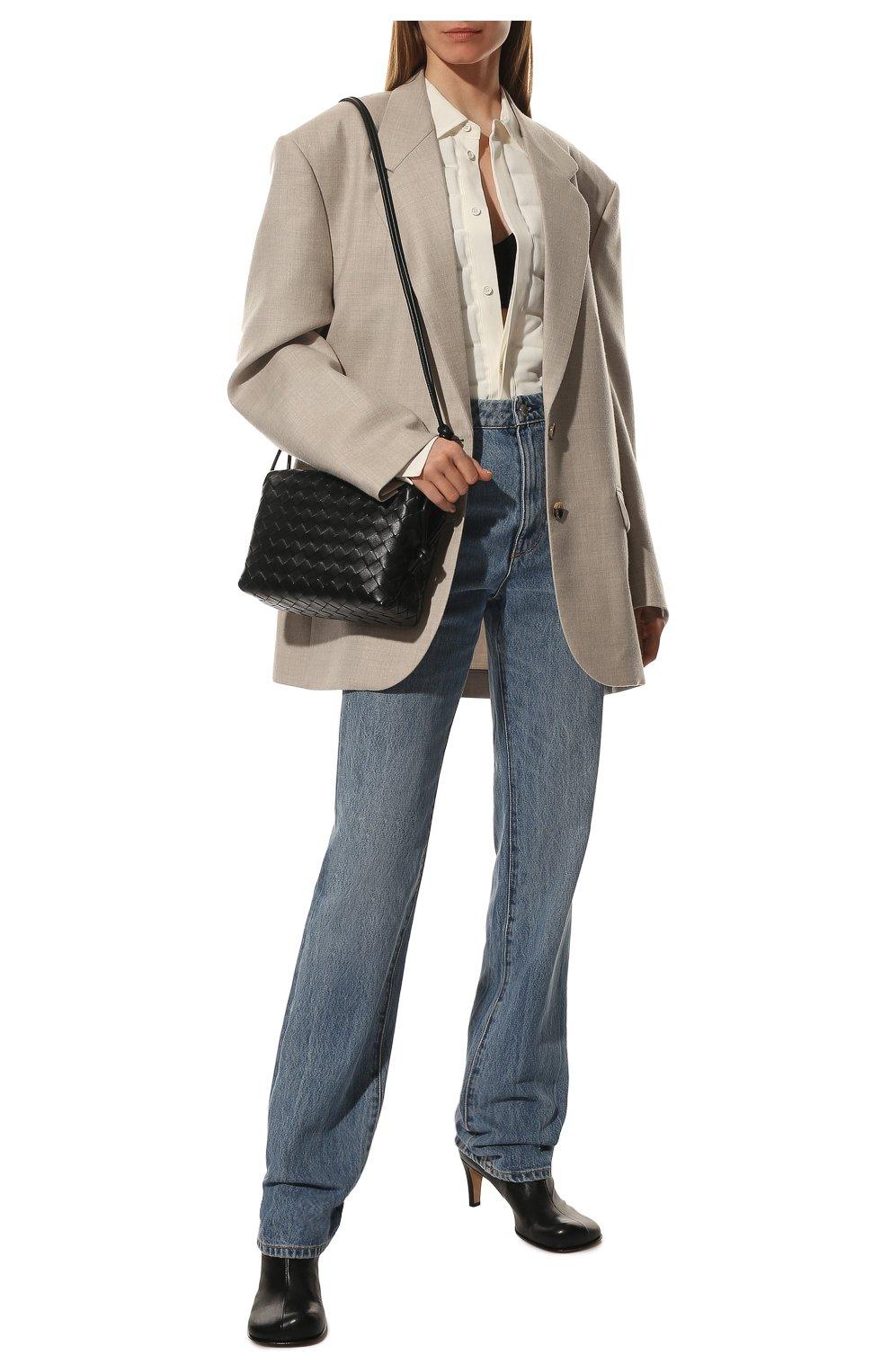 Женские кожаные ботильоны the block BOTTEGA VENETA черного цвета, арт. 667208/VBS00   Фото 2 (Материал внутренний: Натуральная кожа; Каблук высота: Средний; Каблук тип: Устойчивый; Подошва: Плоская)