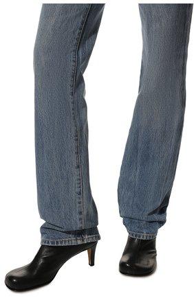 Женские кожаные ботильоны the block BOTTEGA VENETA черного цвета, арт. 667208/VBS00   Фото 3 (Материал внутренний: Натуральная кожа; Каблук высота: Средний; Каблук тип: Устойчивый; Подошва: Плоская)