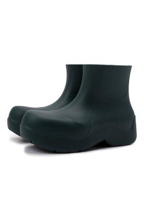 Мужские резиновые сапоги puddle BOTTEGA VENETA темно-зеленого цвета, арт. 640043/V00P0 | Фото 1 (Кросс-КТ: резиновые; Материал внутренний: Натуральная кожа, Текстиль; Материал внешний: Резина; Мужское Кросс-КТ: Сапоги-обувь; Подошва: Плоская)