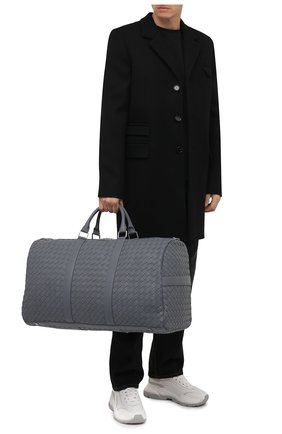 Мужская кожаная дорожная сумка BOTTEGA VENETA серого цвета, арт. 650061/V0E51   Фото 2