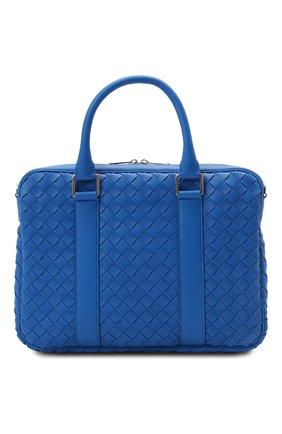 Мужская кожаная сумка для ноутбука BOTTEGA VENETA синего цвета, арт. 651580/V0E51 | Фото 1