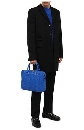 Мужская кожаная сумка для ноутбука BOTTEGA VENETA синего цвета, арт. 651580/V0E51 | Фото 2
