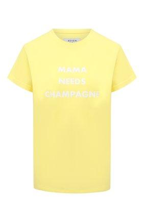 Женская хлопковая футболка SEVEN LAB желтого цвета, арт. T21-MNC G01 yellow   Фото 1