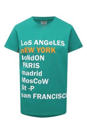 Женская хлопковая футболка SEVEN LAB изумрудного цвета, арт. T21-nEW YORK GO emerald   Фото 1