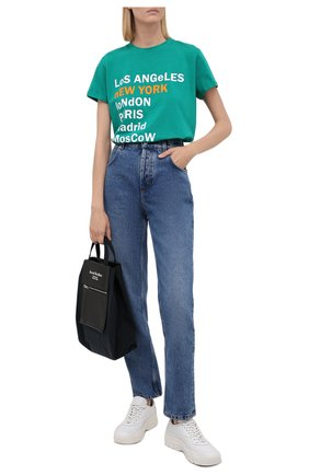 Женская хлопковая футболка SEVEN LAB изумрудного цвета, арт. T21-nEW YORK GO emerald   Фото 2