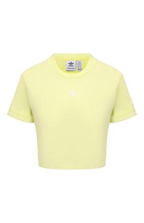 Женская хлопковая футболка ADIDAS ORIGINALS желтого цвета, арт. H37884 | Фото 1