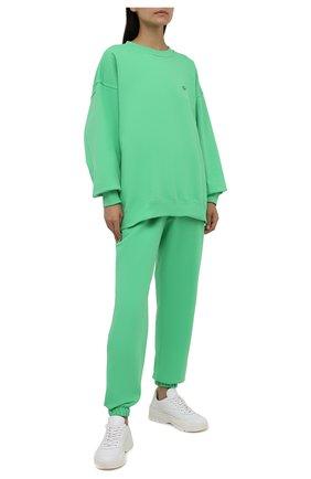 Женские хлопковые джоггеры ADIDAS ORIGINALS зеленого цвета, арт. H09162 | Фото 2