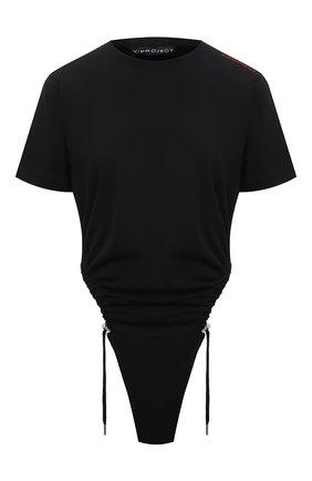 Женское хлопковое боди Y/PROJECT черного цвета, арт. WB0DY15-S20 J21 | Фото 1