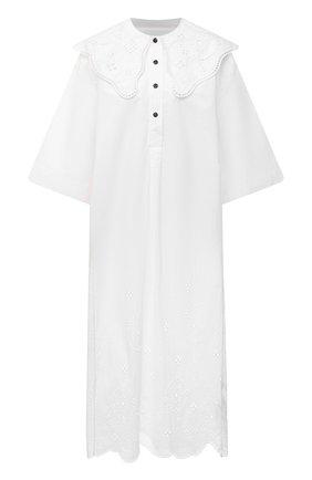 Женское хлопковое платье GANNI белого цвета, арт. F5990   Фото 1