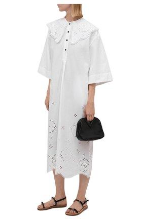Женское хлопковое платье GANNI белого цвета, арт. F5990   Фото 2