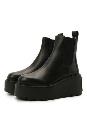Женские кожаные ботинки uniqueform VALENTINO черного цвета, арт. WW2S0AP7/RBJ | Фото 1 (Каблук высота: Высокий; Материал внутренний: Натуральная кожа; Подошва: Платформа; Женское Кросс-КТ: Челси-ботинки)