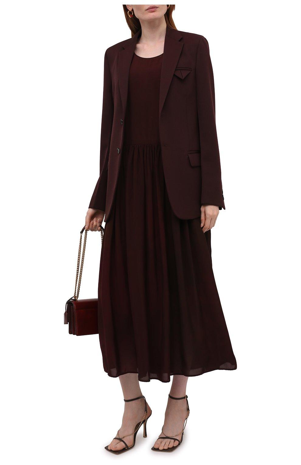 Женское платье из вискозы UMA WANG бордового цвета, арт. W1 M UP5017 | Фото 2 (Женское Кросс-КТ: Сарафаны, Платье-одежда; Случай: Повседневный; Длина Ж (юбки, платья, шорты): Миди; Материал внешний: Вискоза; Стили: Романтичный)
