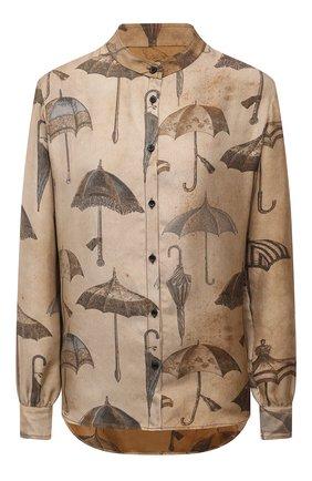 Женская шелковая рубашка UMA WANG коричневого цвета, арт. W1 M UP1012 | Фото 1 (Длина (для топов): Стандартные; Материал внешний: Шелк; Рукава: Длинные; Стили: Романтичный; Принт: С принтом; Женское Кросс-КТ: Рубашка-одежда)