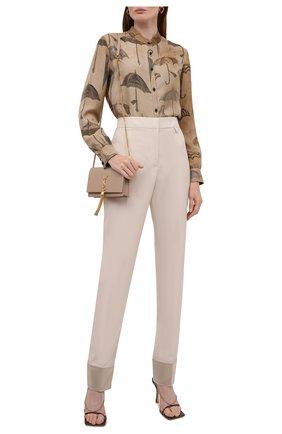 Женская шелковая рубашка UMA WANG коричневого цвета, арт. W1 M UP1012 | Фото 2 (Длина (для топов): Стандартные; Материал внешний: Шелк; Рукава: Длинные; Стили: Романтичный; Принт: С принтом; Женское Кросс-КТ: Рубашка-одежда)