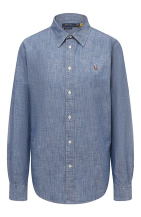 Женская хлопковая рубашка POLO RALPH LAUREN голубого цвета, арт. 211806182 | Фото 1