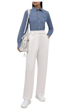 Женская хлопковая рубашка POLO RALPH LAUREN голубого цвета, арт. 211806182 | Фото 2