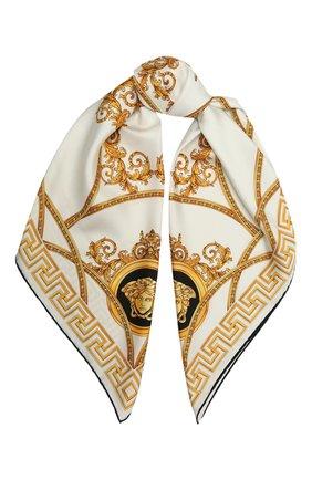 Женский шелковый платок VERSACE белого цвета, арт. 1001600/1A01278 | Фото 1