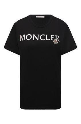 Женская хлопковая футболка MONCLER черного цвета, арт. G2-093-8C000-24-829FB   Фото 1 (Материал внешний: Хлопок; Стили: Спорт-шик; Принт: С принтом; Женское Кросс-КТ: Футболка-спорт; Рукава: Короткие; Длина (для топов): Стандартные)