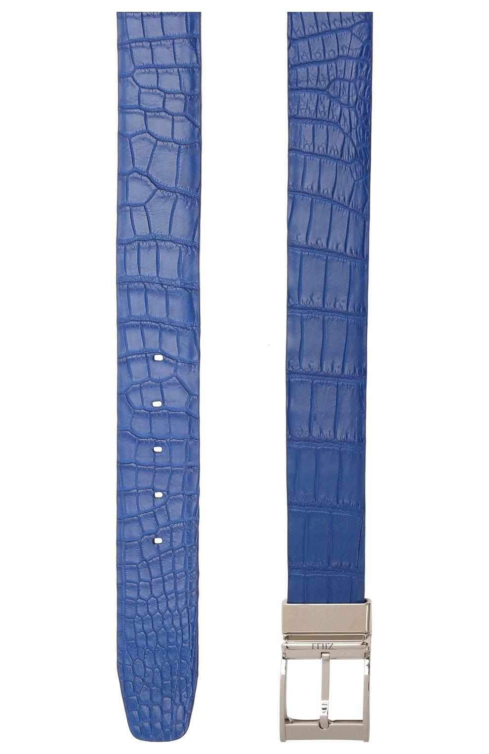 Мужской двусторонний ремень из кожи аллигатора и крокодила ZILLI синего цвета, арт. MJL-REVRE-A0145/0071/CP0R/AMIS   Фото 3 (Случай: Формальный; Материал: Экзотическая кожа)