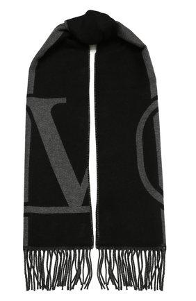 Мужской шарф из шерсти и кашемира VALENTINO черного цвета, арт. WY2ER033/TRC   Фото 1
