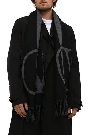 Мужской шарф из шерсти и кашемира VALENTINO черного цвета, арт. WY2ER033/TRC   Фото 2