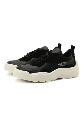 Мужские кожаные кроссовки gumboy VALENTINO черного цвета, арт. WY2S0B17/VRN | Фото 1