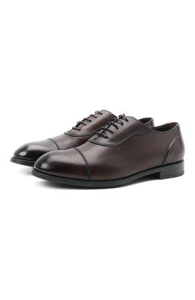 Мужские кожаные оксфорды ERMENEGILDO ZEGNA темно-коричневого цвета, арт. A4994X-LHNAX | Фото 1 (Материал внутренний: Натуральная кожа; Стили: Классический)