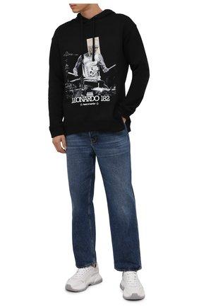 Мужской хлопковое худи DIEGO VENTURINO черного цвета, арт. FW21-DV FLH L182 | Фото 2