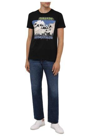 Мужская хлопковая футболка DIEGO VENTURINO черного цвета, арт. FW21-DV TS RKU | Фото 2