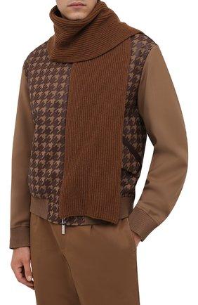 Мужской кашемировый шарф MOORER светло-коричневого цвета, арт. S0VANA-CWS/M0USC100003-TEPA177 | Фото 2 (Материал: Кашемир, Шерсть; Кросс-КТ: кашемир)