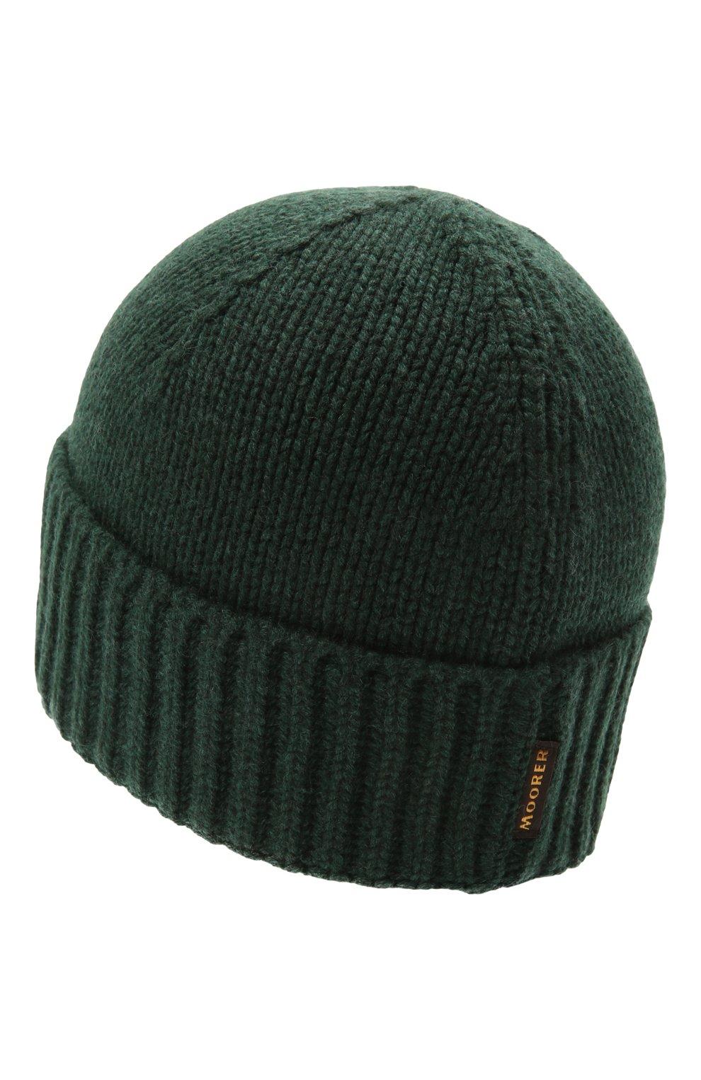 Мужская кашемировая шапка MOORER зеленого цвета, арт. BERET-CWS/M0UBE100001-TEPA177 | Фото 2 (Материал: Кашемир, Шерсть; Кросс-КТ: Трикотаж)