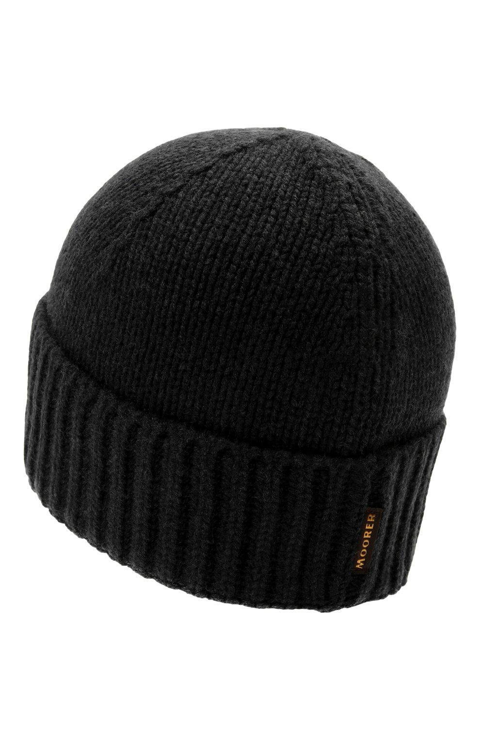 Мужская кашемировая шапка MOORER черного цвета, арт. BERET-CWS/M0UBE100001-TEPA177   Фото 2 (Материал: Кашемир, Шерсть; Кросс-КТ: Трикотаж)