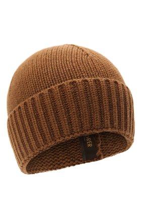 Мужская кашемировая шапка MOORER светло-коричневого цвета, арт. BERET-CWS/M0UBE100001-TEPA177 | Фото 1 (Материал: Шерсть, Кашемир; Кросс-КТ: Трикотаж)