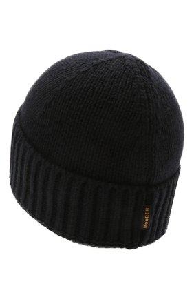 Мужская кашемировая шапка MOORER темно-синего цвета, арт. BERET-CWS/M0UBE100001-TEPA177 | Фото 2 (Материал: Кашемир, Шерсть; Кросс-КТ: Трикотаж)