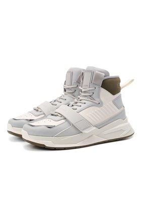 Мужские кожаные кроссовки b-ball BALMAIN светло-серого цвета, арт. WM1VG230/LCNK | Фото 1 (Материал внутренний: Натуральная кожа; Подошва: Массивная; Стили: Гранж)