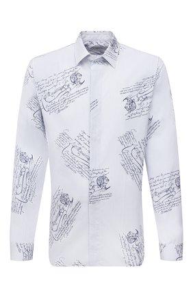 Мужская хлопковая рубашка BERLUTI голубого цвета, арт. R20HTL50-002   Фото 1 (Длина (для топов): Стандартные; Рукава: Длинные; Материал внешний: Хлопок; Случай: Повседневный; Воротник: Кент; Манжеты: На пуговицах; Принт: С принтом; Стили: Кэжуэл)