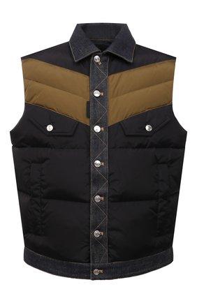 Мужской пуховый жилет DSQUARED2 темно-синего цвета, арт. S74FB0275/S53817 | Фото 1 (Длина (верхняя одежда): Короткие; Материал подклада: Синтетический материал; Материал внешний: Синтетический материал; Материал утеплителя: Пух и перо; Кросс-КТ: Куртка, Пуховик; Стили: Гранж)