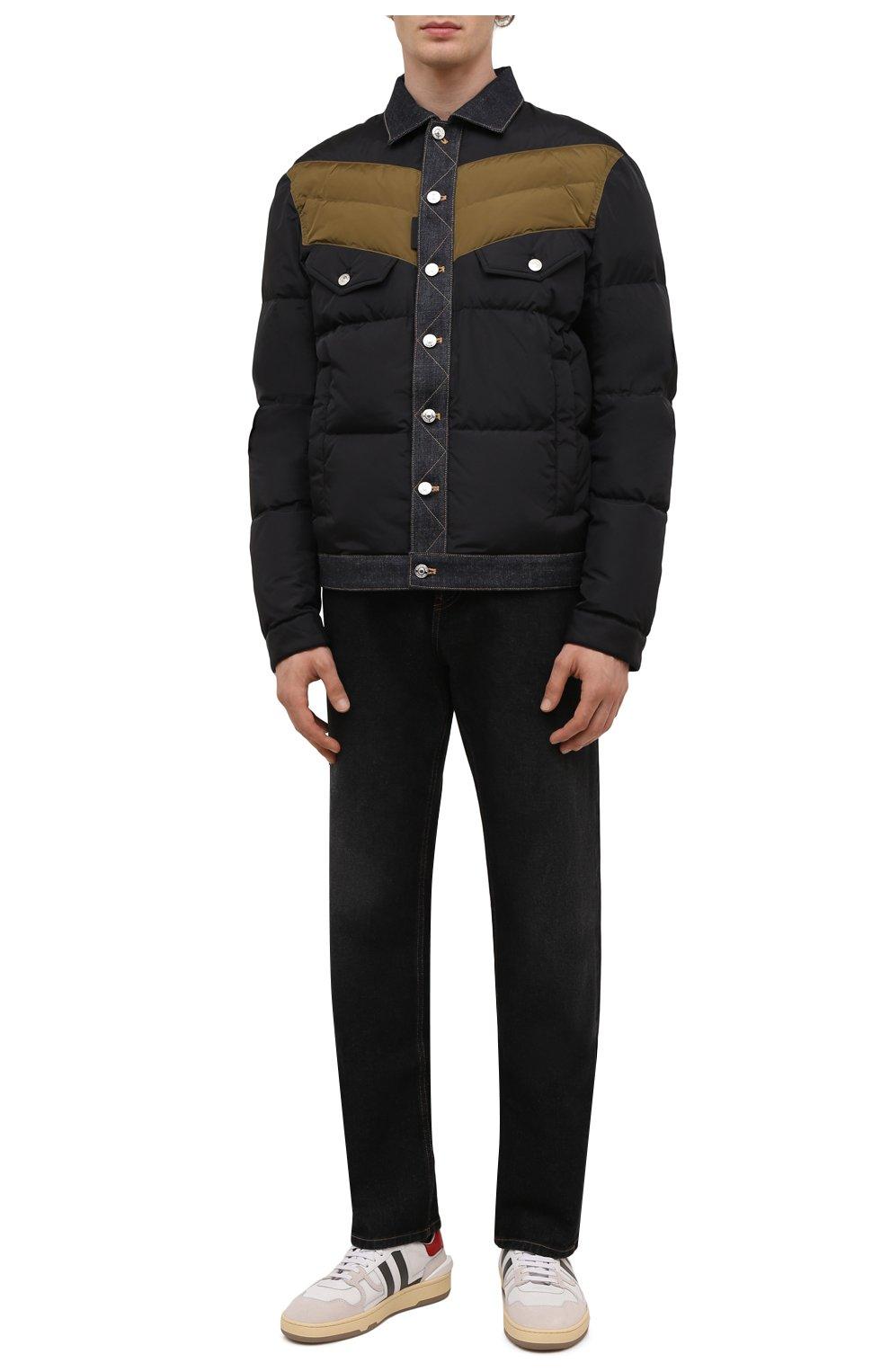 Мужская пуховая куртка DSQUARED2 темно-синего цвета, арт. S74AM1193/S53817   Фото 2 (Кросс-КТ: Куртка; Мужское Кросс-КТ: пуховик-короткий; Рукава: Длинные; Материал внешний: Синтетический материал; Стили: Гранж; Материал подклада: Синтетический материал; Длина (верхняя одежда): Короткие; Материал утеплителя: Пух и перо)