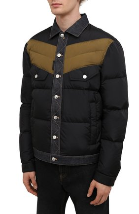 Мужская пуховая куртка DSQUARED2 темно-синего цвета, арт. S74AM1193/S53817   Фото 3 (Кросс-КТ: Куртка; Мужское Кросс-КТ: пуховик-короткий; Рукава: Длинные; Материал внешний: Синтетический материал; Стили: Гранж; Материал подклада: Синтетический материал; Длина (верхняя одежда): Короткие; Материал утеплителя: Пух и перо)