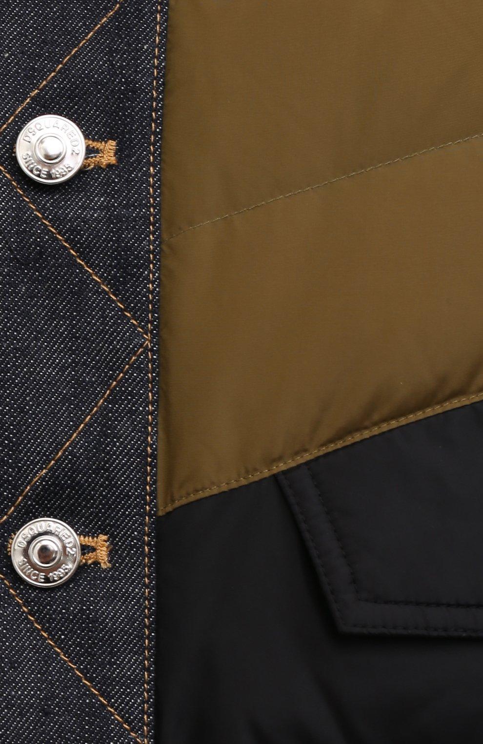 Мужская пуховая куртка DSQUARED2 темно-синего цвета, арт. S74AM1193/S53817   Фото 5 (Кросс-КТ: Куртка; Мужское Кросс-КТ: пуховик-короткий; Рукава: Длинные; Материал внешний: Синтетический материал; Стили: Гранж; Материал подклада: Синтетический материал; Длина (верхняя одежда): Короткие; Материал утеплителя: Пух и перо)