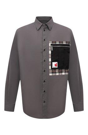 Мужская хлопковая рубашка DSQUARED2 серого цвета, арт. S74DM0531/S35175 | Фото 1 (Длина (для топов): Стандартные; Материал внешний: Хлопок; Рукава: Длинные; Случай: Повседневный; Воротник: Кент; Манжеты: На пуговицах; Принт: С принтом; Стили: Кэжуэл)