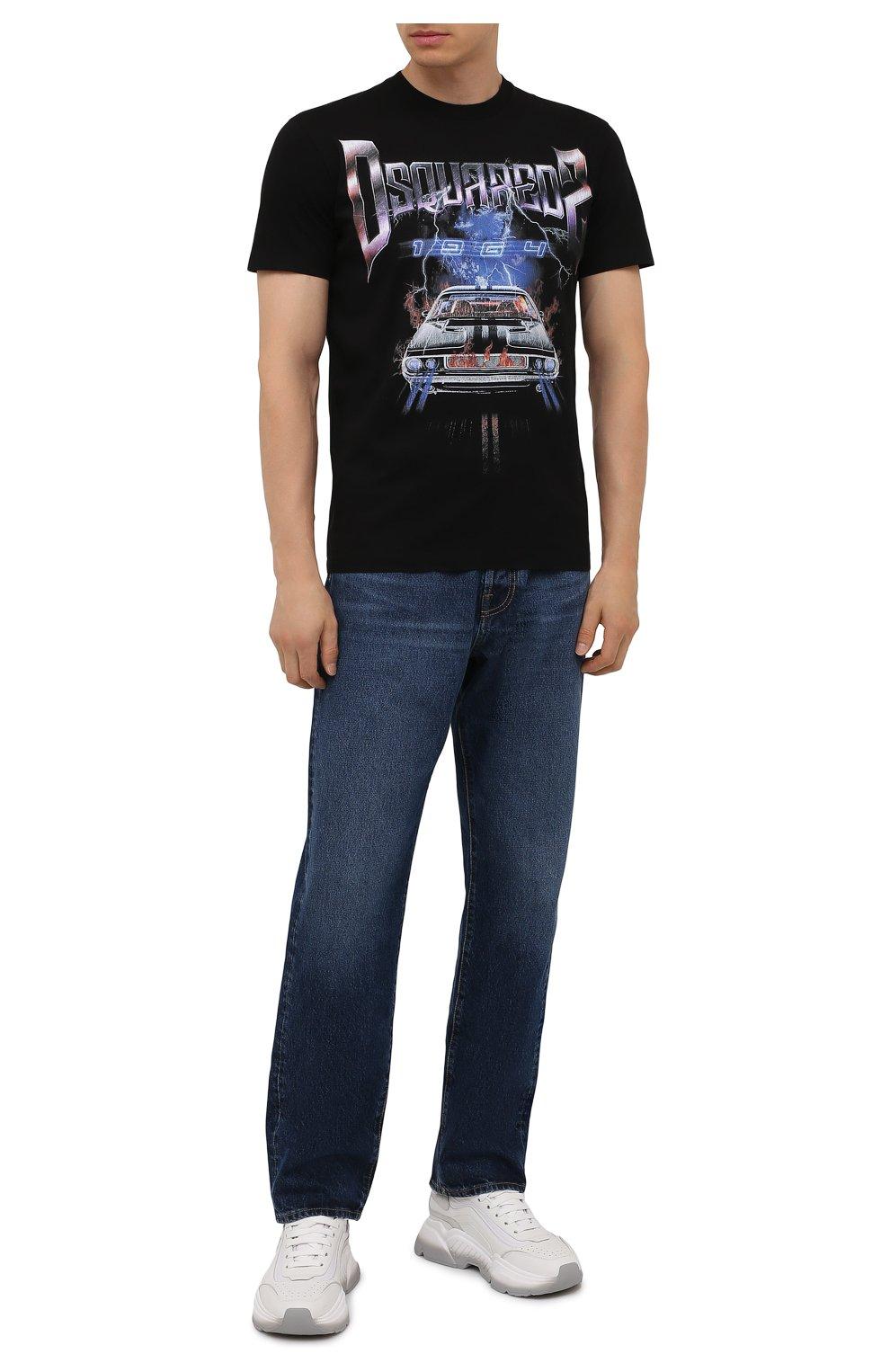 Мужская хлопковая футболка DSQUARED2 черного цвета, арт. S71GD1071/S23009 | Фото 2 (Рукава: Короткие; Стили: Панк; Длина (для топов): Стандартные; Принт: С принтом; Материал внешний: Хлопок)