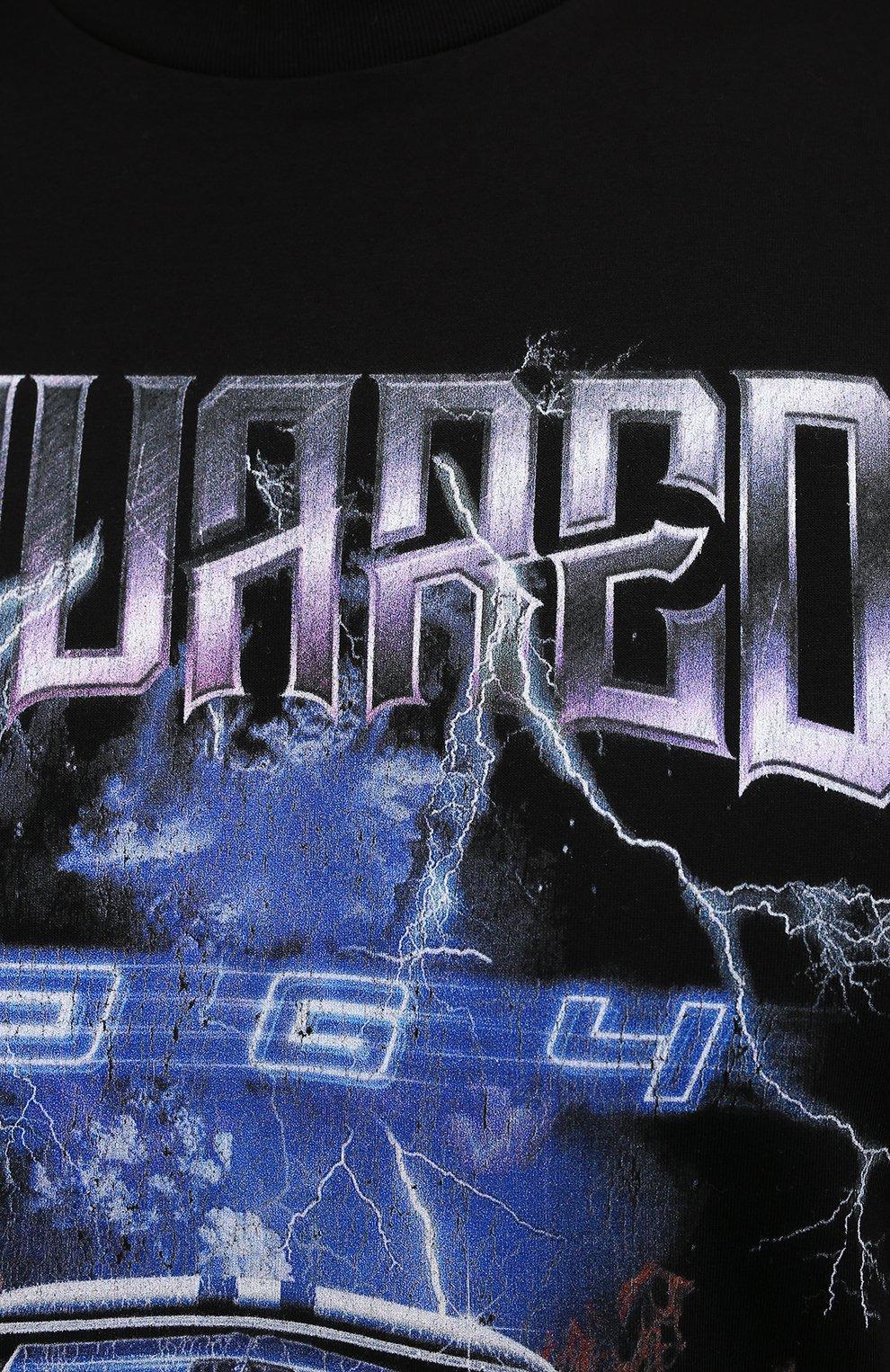 Мужская хлопковая футболка DSQUARED2 черного цвета, арт. S71GD1071/S23009 | Фото 5 (Рукава: Короткие; Стили: Панк; Длина (для топов): Стандартные; Принт: С принтом; Материал внешний: Хлопок)
