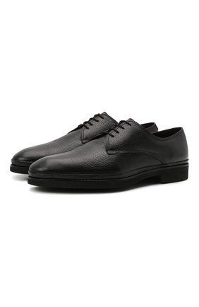 Мужские кожаные дерби CORNELIANI черного цвета, арт. 88TM09-1820957 | Фото 1 (Материал утеплителя: Натуральный мех; Стили: Классический)