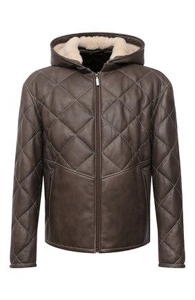 Мужская кожаная куртка ZILLI хаки цвета, арт. MAW-KYLE0-01985/0003 | Фото 1 (Длина (верхняя одежда): Короткие; Рукава: Длинные; Кросс-КТ: Куртка; Мужское Кросс-КТ: Кожа и замша, утепленные куртки; Стили: Кэжуэл)