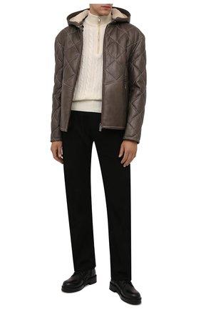 Мужская кожаная куртка ZILLI хаки цвета, арт. MAW-KYLE0-01985/0003 | Фото 2 (Длина (верхняя одежда): Короткие; Рукава: Длинные; Кросс-КТ: Куртка; Мужское Кросс-КТ: Кожа и замша, утепленные куртки; Стили: Кэжуэл)