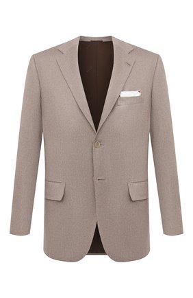 Мужской кашемировый пиджак KITON бежевого цвета, арт. UG81K0127A   Фото 1