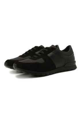 Мужские комбинированные кроссовки KITON черного цвета, арт. USSWINBN00697 | Фото 1 (Подошва: Массивная; Материал внутренний: Натуральная кожа; Стили: Классический)